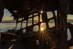 Sunset From Inside The Wreck Of Peter Iredale by  Marlene Reimer